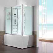 Platinum Steam Shower and Whirlpool Left Drain Bathtub Combination Unit, 59''W x 32''D x 87-13/32''H