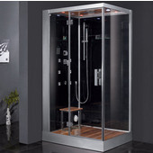 Platinum Collection Steam Shower, Left Side in Black, 47'' W x 35-2/5'' D x 89'' H