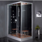 Platinum Collection Steam Shower, Left Side in Black, 59'' W x 35-2/5'' D x 89-1/5'' H