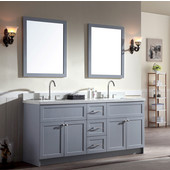 Hamlet 73'' Double Sink Vanity Set with White Quartz Countertop and Matching Mirror in Grey, 73''W x 22''D x 35''H