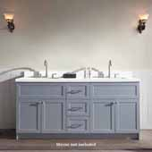Hamlet 73'' Double Sink Vanity with White Quartz Countertop in Grey, 73''W x 22''D x 35''H