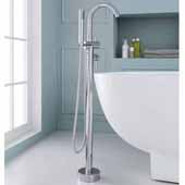 Single-Handle Freestanding Roman Tub Faucet with Hand Shower, Chrome, 6-45/64''W x 11-13/32''D x 44-1/2''H