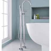 2-Handle Freestanding Roman Tub Faucet with Hand Shower, Chrome, 9-3/32''W x 11-13/64''D x 45-45/64''H