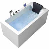 Platinum 59'' Whirlpool Left Drain Rectangular Bathtub, White, 59''W x 29-1/2''D x 24-29/32''H