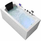 Platinum 59'' Whirlpool Right Drain Rectangular Bathtub, White, 59''W x 29-1/2''D x 24-29/32''H
