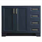 Taylor 42'' Left Offset Single Sink Base Cabinet In Midnight Blue, 42''W x 21-1/2''D x 33-1/2''H