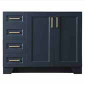Taylor 42'' Right Offset Single Sink Base Cabinet In Midnight Blue, 42''W x 21-1/2''D x 33-1/2''H