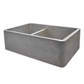 Farmhouse Double Bowl Kitchen Sink In Ash, 33''W X 21''D X 10-1/4''H