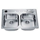 Combination Drop In Stainless Steel Top Mount Sink with Accessories, 33''W x  22''D x 8 1-4''H