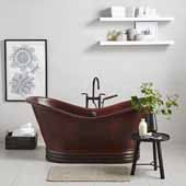 72'' Aurora Bathtub in Antique Copper, 72''W x 32''D x 32''H