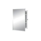 Jensen (Formerly Broan) Horizon Recess Mount 1 Door Medicine Cabinet w/ Basic White Finish, Frameless Mirror, Plastic Construction w/ 2 Adjustable Plastic Shelves, 16''W x 3-5/8''D x 22''H
