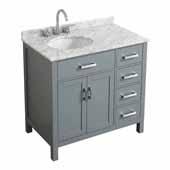 Belmont Decor Hampton 37'' Single Left Offset Oval Sink Vanity in Grey, 37''W x 22''D x 35''H