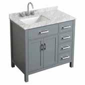 Belmont Decor Hampton 37'' Single Left Offset Rectangle Sink Vanity in Grey, 37''W x 22''D x 35''H