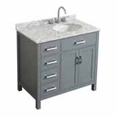 Belmont Decor Hampton 37'' Single Right Offset Oval Sink Vanity in Grey, 37''W x 22''D x 35''H