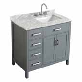 Belmont Decor Hampton 37'' Single Right Offset Rectangle Sink Vanity in Grey, 37''W x 22''D x 35''H
