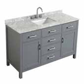 Belmont Decor Hampton 61'' Single Rectangle Sink Vanity in Grey, 61''W x 22''D x 35''H