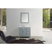 Hampton 37'' Single Left Offset Oval Sink Vanity Set in Grey, Includes: Vanity Base, Countertop, Sink and Mirror