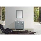 Hampton 37'' Single Left Offset Rectangle Sink Vanity Set in Grey, Includes: Vanity Base, Countertop, Sink and Mirror