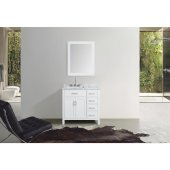 Hampton 37'' Single Left Offset Rectangle Sink Vanity Set in White, Includes: Vanity Base, Countertop, Sink and Mirror