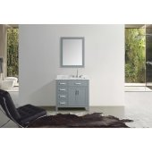 Hampton 37'' Single Right Offset Rectangle Sink Vanity Set in Grey, Includes: Vanity Base, Countertop, Sink and Mirror