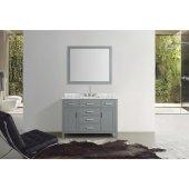 Hampton 49'' Single Rectangle Sink Vanity Set in Grey, Includes: Vanity Base, Countertop, Sink and Mirror