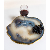 Brasil Home Decor Large Natural Agate Serving Platter with 24K Gold Finishing, 13'' W x 12'' D x 3/8'' H