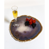 Brasil Home Decor Large Natural Agate Serving Platter with Sterling Silver Finishing, 13'' W x 12'' D x 3/8'' H