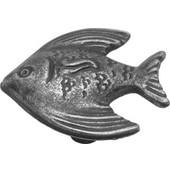 Knob With Angel Fish Design, 1-3/8'' Dia, Vibra Pewter Finish