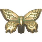 Knob With Butterfly Design, 2'' x 1-1/2'' O.A, Verdigris Antique Finish