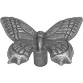 Knob With Butterfly Design, 2'' x 1-1/2'' O.A, Vibra Pewter Finish