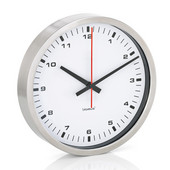 Era Collection Wall Clock in Stainless Steel with White Acrylic Facing, 9-2/5'' Diameter x 1-4/5'' D