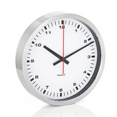 Era Collection Wall Clock in Stainless Steel with White Acrylic Facing, 11-4/5'' Diameter x 2-1/5'' D