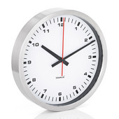 Era Collection Wall Clock in Stainless Steel with White Acrylic Facing, 15-7/10'' Diameter x 2-3/5'' D