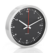 Era Collection Wall Clock in Stainless Steel with Black Acrylic Facing, 9-2/5'' Diameter x 1-4/5'' D