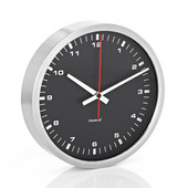 Era Collection Wall Clock in Stainless Steel with Black Acrylic Facing, 11-4/5'' Diameter x 2-1/5'' D