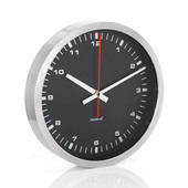 Era Collection Wall Clock in Stainless Steel with Black Acrylic Facing, 15-7/10'' Diameter x 2-3/5'' D