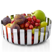 Gusto Modernly Styled Fruit Bowl, Polished Chrome, 9-5/8''W x 9-5/8''D x 3-1/4''H
