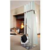 Fireplace Set with Glass Front, 5pcs., Brushed Stainless Steel