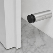 Entra Collection Wall Mounted Door Stop in Rubber Bumber with Matt Stainless Steel Base, 1'' Diameter x 3-5/32'' H