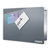 Velio Collection Small Glass Magnet Board w/ Hook Organizer in Gray, 11-53/64'' W x 1-31/32'' D x 7-7/8'' H, Horizontal