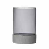 Spirito Collection Candle Holder with Glass, Light Gray, 6-5/16'' Dia x 9-3/8''H