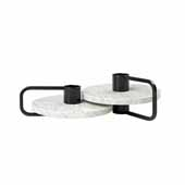 Castea Collection Candle holders Set of 2, Black/Terrazzo