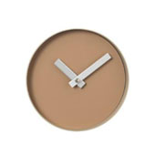 Rim Collection Wall Clock 8in Tan Face with Nomad (Khaki) Rim, 7-7/8''W x 7-7/8''D x 1-9/16''H