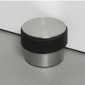 Stop Collection Door Stopper in Stainless Steel Base with Rubber Bumper, 3-9/16'' Diameter x 2-41/64'' H