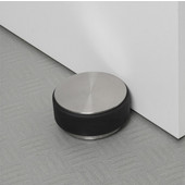 Stop Collection Door Stopper in Stainless Steel Base with Rubber Bumper, 3-9/16'' Diameter x 1-25/32'' H