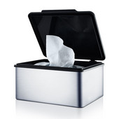 Menoto Collection Tissue Storage Box in Satin Stainless Steel, 5-7/8'' W x 5-13/64'' D x 2-49/64'' H