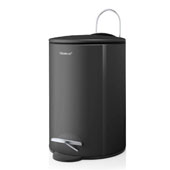 Tubo Collection Pedal Bin Wastepaper Basket 3L Magnet in Charcoal, 8-1/2''W x 6-11/16''D x 9-5/8''H