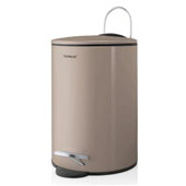 Tubo Collection Pedal Bin Wastepaper Basket 3L Satellite in Taupe, 8-1/2''W x 6-11/16''D x 9-5/8''H