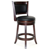 24'' ''Augusta'' Bar Stool in Light Cherry Finish, Shown in Cappuccino Finish