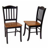 Pair of Shaker Dining Chairs, Black and Oak Finish